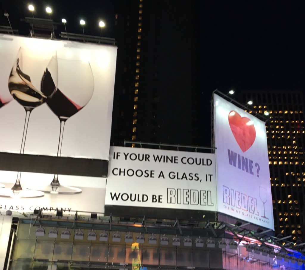 Reidel wine glass billboard, Times Square, NYC